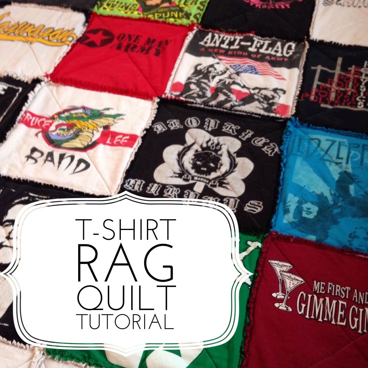 T shirt rag quilt tutorial quilting in the rain for How to make t shirt quilts easy