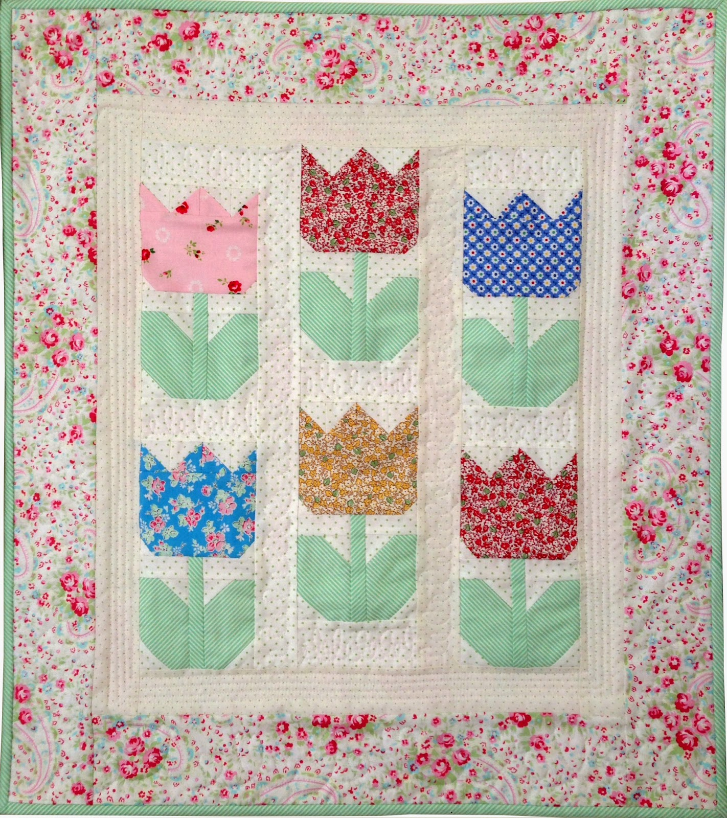 Tiny Tulips Pattern Welcome Spring! Quilting in the Rain